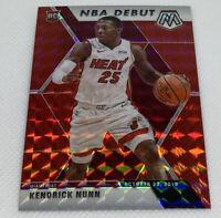 2019-20 Panini Mosaic Kendrick Nunn Red Mosaic Prizm NBA DEBUT RC #268 Heat