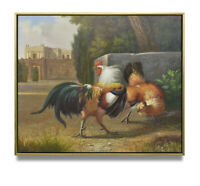 NY Art - Roman Roosters in Battle 20x24 Traditional Oil Painting with Frame!