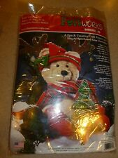 "Dimensions FeltWorks TEDDY & TREE 13"" High Felt Embroidery Kit 8127 CHRISTMAS"