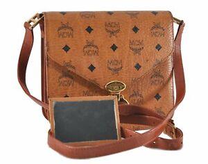 Auth MCM Cognac Visetos Leather Vintage Shoulder Cross Body Bag Brown  D8722