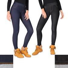 Womens Warm Fleece Lined Stretch Denim Jeans Thermal Winter Leggings Jeggings