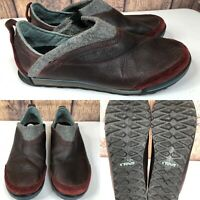 Womens TEVA 'Haley' 1001461 Brown Leather Gray Wool Loafers Shoes SIZE 11 EU 42