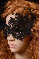 New Ladies BLACK LACE Masquerade Eye Mask Gothic Fancy Dress Hen Party Halloween