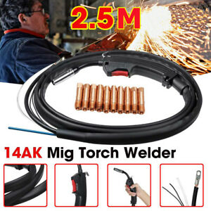 14AK MB MIG WELDING TORCH BINZEL LANCE GAS GASLESS WIRE FIX 2.5M CABLE w/ TIPS
