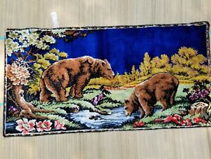 Vintage Tapestry Italy P & C Bears Wall Hanging Grizzly Wildlife RT Co 38 x 20