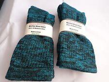 2 Pair Pocono 82%  Merino Wool Hiker Women Socks USA Shoe 5-10 Black Aqua