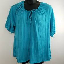French Laundry 1X Peasant Top Blouse Turquoise Blue Green Front Crochet Lace