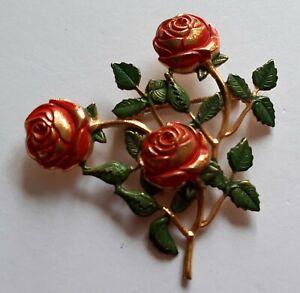 Alte Brosche golden mit Rosen Blumen vintage romantisch intensive Farben
