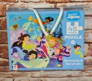 BNIB Kids Junior Jigsaw Puzzle 45 Piece Mermaids And Narwhales Ages 3+