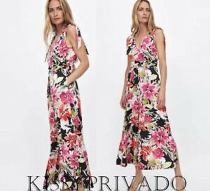 ZARA Multicoloured Floral Printed Wide Leg Jumpsuit with Bows M BNWT