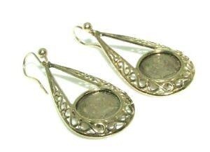 Ladies womens 9ct 9carat yellow gold vintage Mexican coin dangly earrings