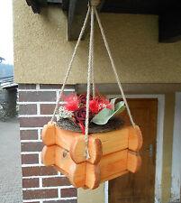 Blumenampel aus Massiv Holz Pflanzkasten Blumentopf Blumentrog Hängeampel