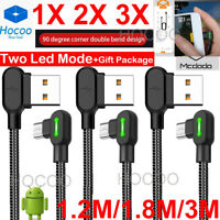 3M Elbow Micro USB Charging Cable Braided Charger For Samsung S7 6 EDGE Android