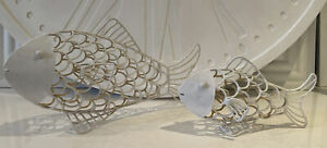 Lovely White Painted Metal Fish Ornaments