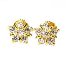 Graceful CZ Studded EAR Studs PAIR 14k Solid Real Gold Screw Back