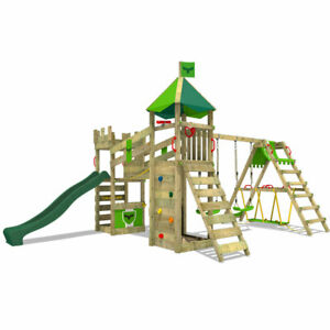FATMOOSE RiverRun Royal XXL Climbing Frame with SurfSwing and green Slide