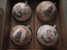 NIB Set of 4 Old World Victorian Glass Ornaments Christmas Holidays, Hand Made