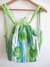 womens beach backpack drawstring bucket 100% COTTON green blue floral sequin