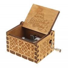 """""""Happy Birthday"""" Wooden Hand Crank Music Box Classic Handmade Kids Toy Gift US"""