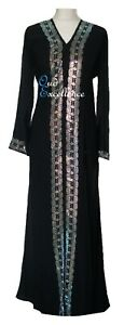 Black Open Nidha Abaya with White Diamante - Jilbab Batwing Kaftan Dress Kimono