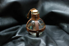 Glass Potion Bottle w/ Brown Leather & Center Strap Renaissance Pirate LARP