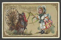 PPC* A50 THANKSGIVING GREETING W/TURKEY & GIRL EMBOSSED POSTED BENT CORNER