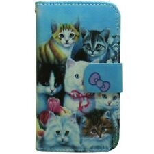 1x Cat Family Wallet Card Holder Flip case cover For Various Mobile Phone