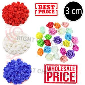 100pcs /Mini 3cm Foam Rose Heads Artificial Flower Heads Wedding Decoration UK