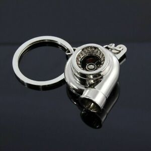 JDM Chrome Bearing Spinning Turbo Charger Turbine Keychain Keyring For TOYOTA