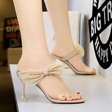 Women's Kitten Sandals Elegant Bowknot Open Toe High Heels Ladies Shoes Slip On