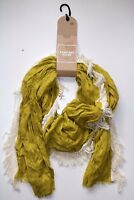 NEXT- VINTAGE STYLE- LIME GREEN SOFT LIGHT COTTON EMBROIDERED SCARF- NEW