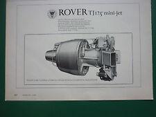 5/1970 PUB ROVER GAS TURBINE ROVER TJ 125 MINI JET TURBOREACTEUR ORIGINAL AD