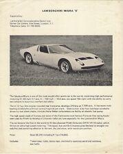 LAMBORGHINI MIURA P400 S 1969-70 UK mercato VOLANTINO BROCHURE DI VENDITA