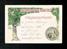 MITGLIEDS-KARTE: CHRISTLICHER VEREIN JUNGER MÄNNER, 1911 /GERLINGEN WÜRTTEMBERG