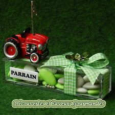 Tracteur theme agriculture bapteme mariage communion dragees boite parrain marra