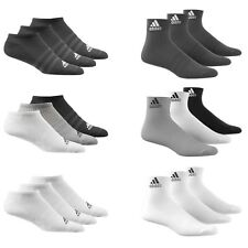 Adidas Socks 3 Pairs Mens Womens Cotton Ankle Liner Quarter Sports Sizes UK 2-14