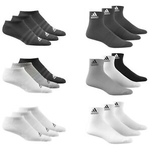 Adidas Socks 3 Pairs Mens Womens Cotton Ankle Liner Quarter Sports Sizes UK 2-14