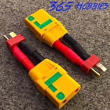 Qty-(2) Male Deans to Female XT-90 Anti Spark 10AWG Connector Adapter LiPo XT90
