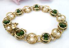 Jewelry Jade Cultured Pearl Bracelet Vintage 12 kt Gf Gold Filled