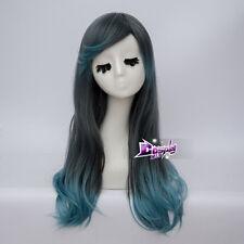 Black Blue Long Wavy Hair Women Lolita Daily Party 60CM Cosplay Wig + Wig Cap