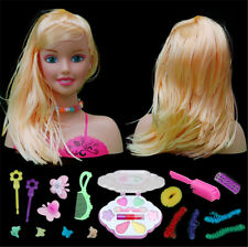 GIRLS TOY DOLL STYLING HEAD WITH ACCESSORIES COMB BRUSH HAIR CLIPS AND MAKE UP