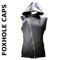 MD BLACK Hoodie Sleeveless Gray Full Zip Up Foxhole Caps Double Layered Core
