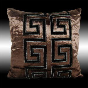 RARE SHINY CHOCOLATE VELVET BLACK FLOCK DECO CUSHION COVER THROW PILLOW CASE 17""