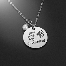 Jewelry Gift for Women Girls, Stainle You are My Sunshine Pearl Pendant Necklace