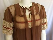 Vintage Peignoir Lingerie Set by Tosca Sheer Brown Lace Nightgown and Robe Sm