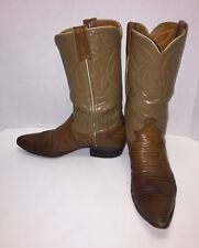 Justin Womens Sz 7.5 A Brown Beige Leather Pointed Toe Western Boots L4502