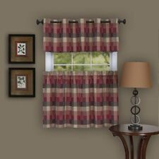 Harvard Tier & Grommet Valance set Plaid Burgundy complete window set