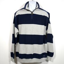Blue Willi's 1/2 Zip Pullover Sweater Men's XL Navy Gray Striped 100% Cotton