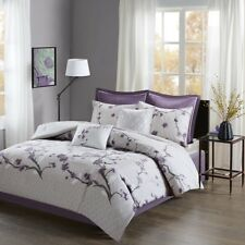 King Size New Holly 8 Piece Cotton Comforter Set Cotton Purple Madison Park 4167