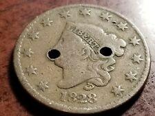 1828 Coronet Head Large Cent, holed     L08     PL1022